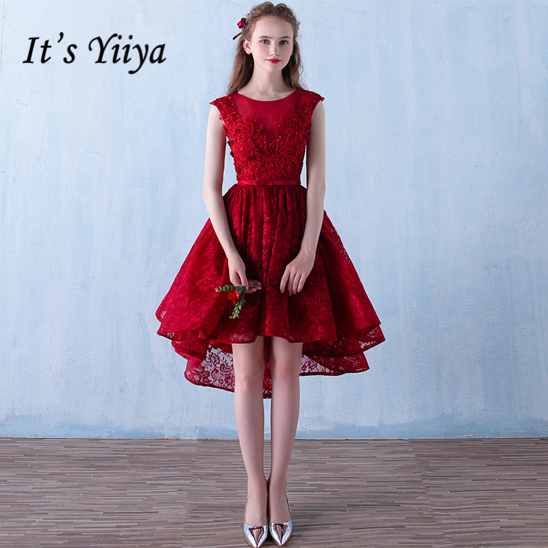 It's YiiYa 2017 O-neck Wine Red Sleeveless Lace Backless   Cocktail     Dresses   Sequins Embroidery Knee-Length Formal   Dress   L171