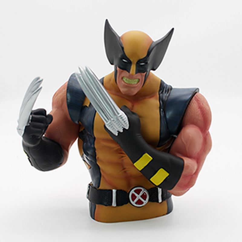 Super Heroes Wolverine X-Men Piggy Bank Coin Money Bank PVC Action Figure Collectible Model Toy Save Money Box For Gift anime dragon ball super saiyan 3 son gokou pvc action figure collectible model toy 18cm kt2841