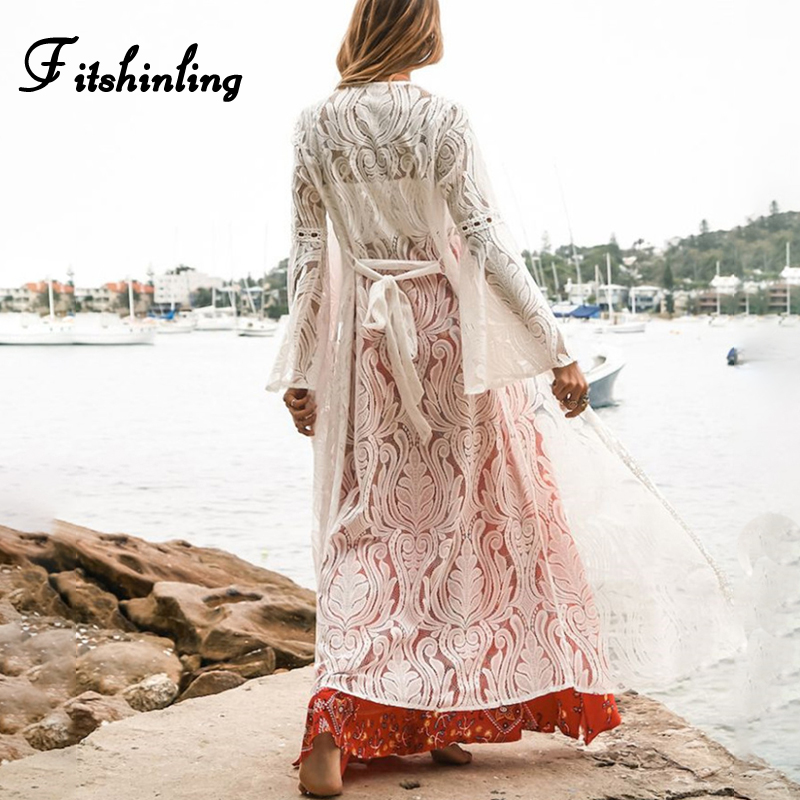 Fitshinling Flare sleeve lace long cardigan swimwear 2019 summer hollow out sexy hot beach cover up bohemian white cover-ups new