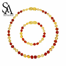 SA SILVERAGE 2019 Authenticity Genuine Baltic Link Chain Baltic Amber Teething Necklace/Bracelet for Baby Natural Amber Necklace все цены