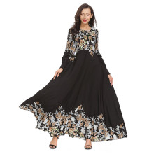 Одежда мусульманская абайя для женщин Кафтан платье свободные печатные абайя исламские турецкие Длинные Платья повседневные женские Муслима абайя Дубай