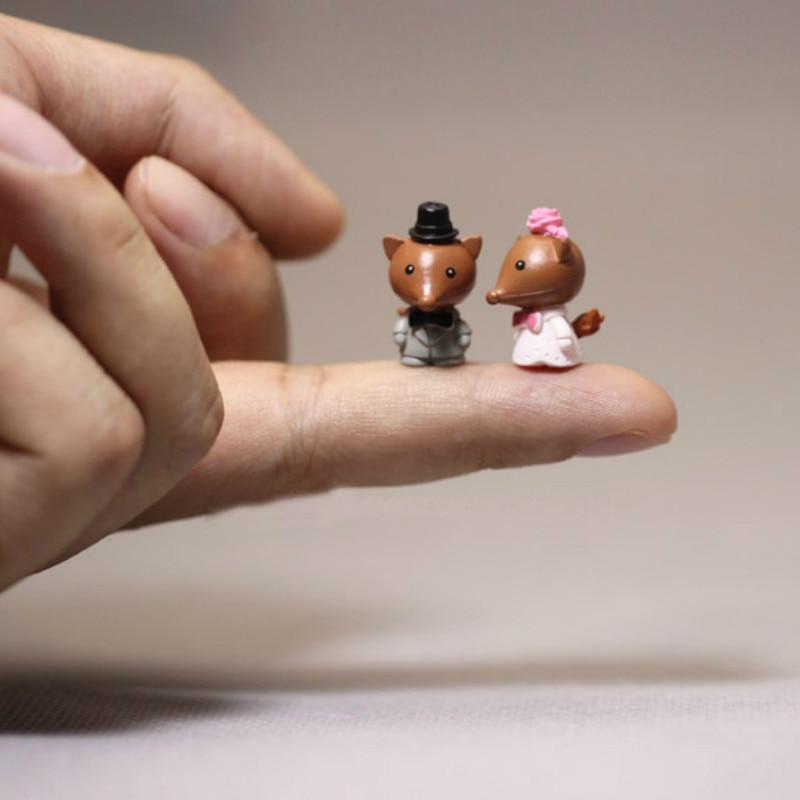4 Pcs Cute Lovely Fox Couple/squirrel/miniatures Animals/figurine/fairy Garden Gnome/terrarium Decor/doll House Supplies/model