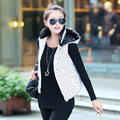 The New Han Edition Eiderdown Cotton Vest Wave Point Hooded Womens Winter Vest Jacket