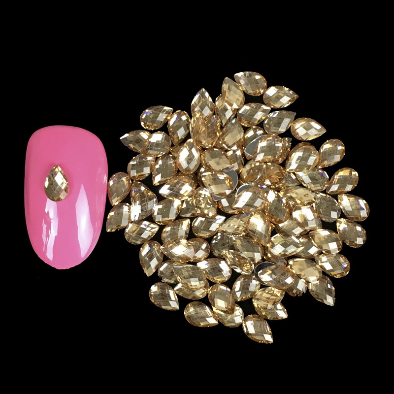 1000PCS/LOT Champagne Gold Resin Nail Charms Water Drop Nail Art Jewelry Accessories 3D DIY Nail Art Rhinestones WY502 1000pcs lot ab color marquise nail art rhinestones women decoration diy nail jewelry accessories 3d nail art supply tools wy505