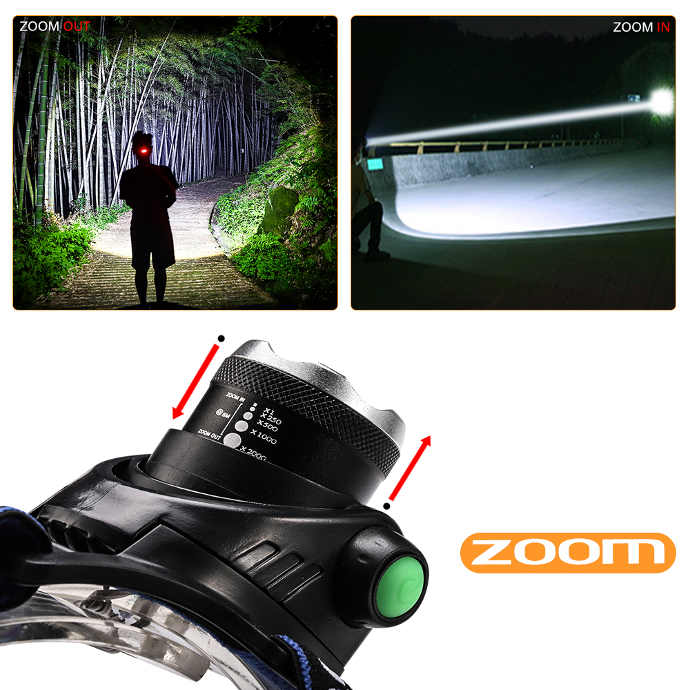 LED headlamp USB Charging LED Headlight 12000LM V6 L2 T6 Zoomable Lamp Waterproof Head Torch Flashlight Torch 3 Modes Use 18650 in Headlamps from Lights Lighting