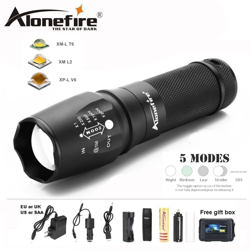 AloneFire X800 Cree Tactical Flashlight XM-L T6 L2 U3 LED Zoom lantern zaklamp Torch camping lamp for AAA 18650 26650 Battery ru zk50 led flashlight 3x 5x 7x 9x cree xm l t6 lamp beads led torch flash light tactical lantern for hunting camping no battery