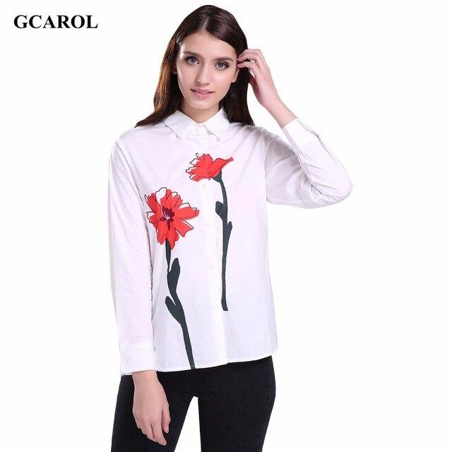 Gcarol 2017 mulheres chegada nova daisy impresso blusa da moda ol branco Floral Camisa Turn-down Collar Tops de Alta Qualidade Para 4 temporada
