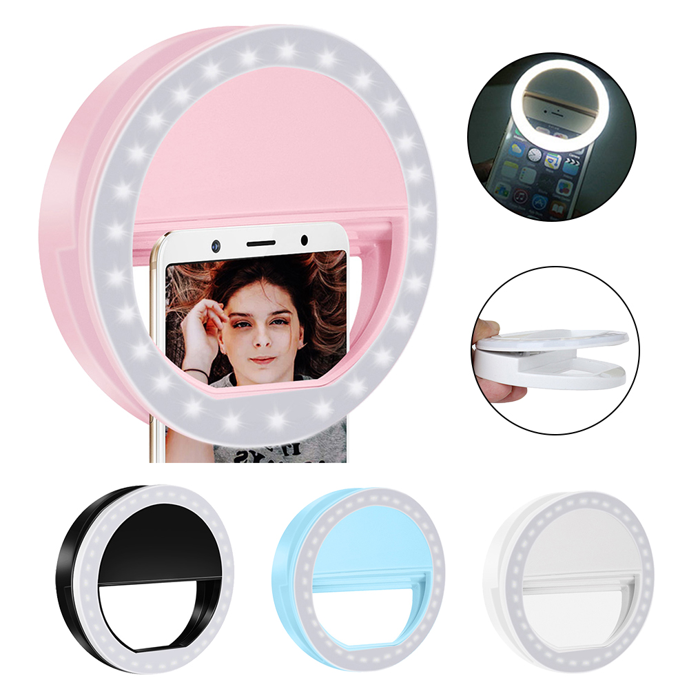 IVYSHION USB Charge LED Selfie Ring Light For Iphone Supplementary Lighting Night Darkness Selfie Enhancing For Phone Fill Light(China)