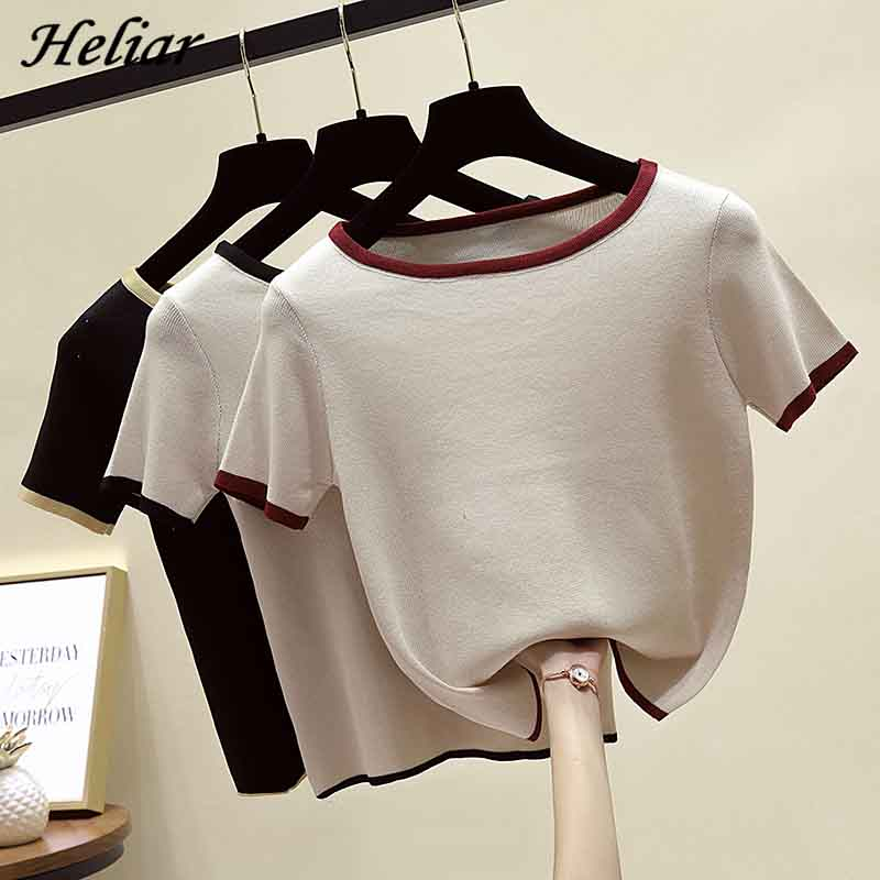 HELIAR Female Cotton Knitting Solid O-Neck T-shirt Summer Short Sleeve Casual Outwear INS Camiseta Feminina T For Women Tees