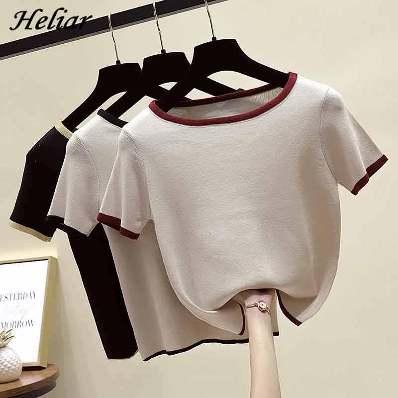HELIAR 여성면 뜨개질 솔리드 o-넥 T-셔츠 여름 짧은 소매 캐주얼 Outwear INS Camiseta Feminina T 여성 티셔츠