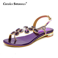 Cuculus 2018 New Bohemian Women Sandals Crystal Sandalias Rhinestone Chain Women Shoes Thong Flip Flops Zapatos