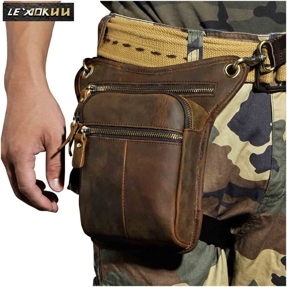 Real Leather Men Design Casual Messenger Skulder Sling Bag Fashion Multifunktions Talje Bælte Pakke Drop Leg Bag Talje Pose 211-2