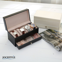 4 Grids PU Leather Ring Necklace Watch Casket Display Collection Storage Case With Drawer Organizer Box