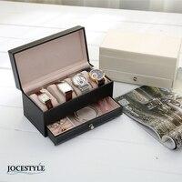 שעון שרשרת טבעת קופסא תכשיטי עור PU ארגונית מחזיק תכשיטי תצוגת אוסף שחור לבן חדש מחזיק תיבת אחסון מקרה