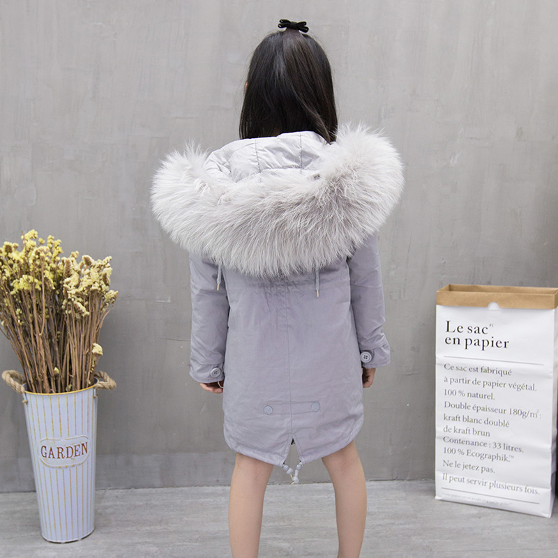 2017 Winter kid super large fur collar jacket girls casual hooded cotton jacket high quality princess thick warm coat 17N1120 2017 winter kid super large raccoon fur collar jacket girls pink hooded cotton jacket high quality kids thick warm coat 17n1120