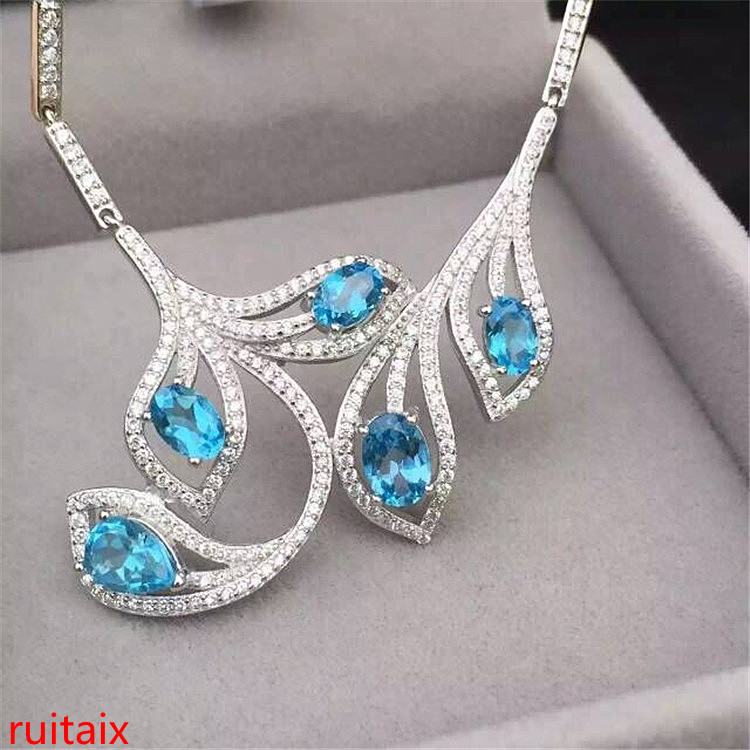 KJJEAXCMY boutique jewels 925 sterling silver inlaid with natural blue topaz necklace jewelry silver color set chain. цены онлайн