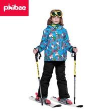 Phibee Niños Calientes Del Invierno Al Aire Libre Impermeable A Prueba de Viento Muchachos Traje de Esquí Chaqueta de Snowboard de Esquí-20 a 30 grados