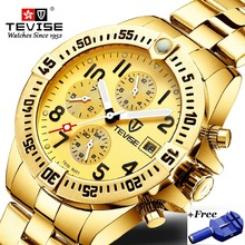 TEVISE Mechanical Watch Men Luxury Wrist Automatic Watches Men Waterproof Gold Full Stainless Steel Watch Clock Montre Homme цена и фото