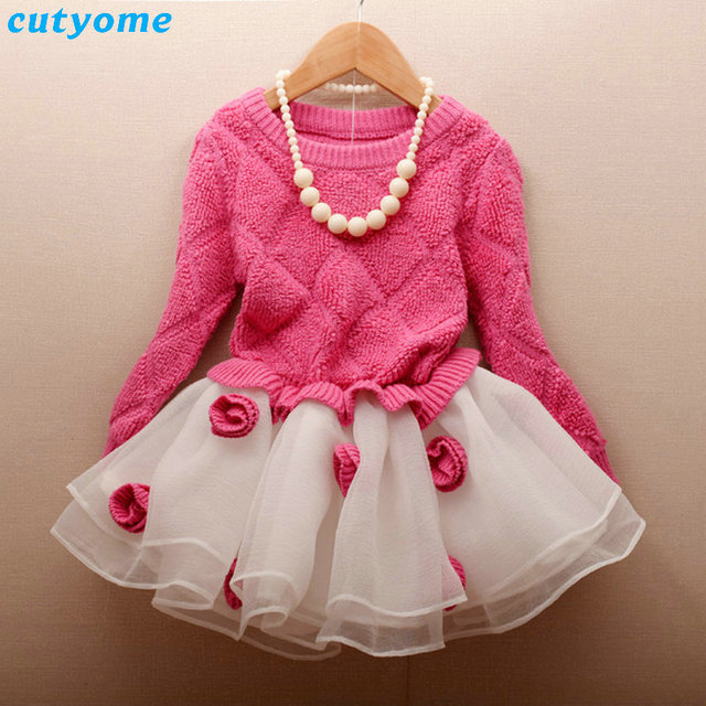 Toddler Kids Girls Pink Sweaters Knit Baby Princess Patchwork Dress