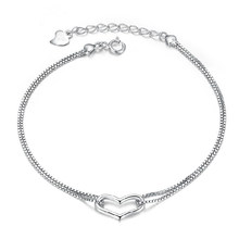 ZHOUYANG Bracelet For Women Simple Style Sweet Love Heart Double Layer Charm Chain Silver Color Gifts Fashion Jewelry KBH204(China)
