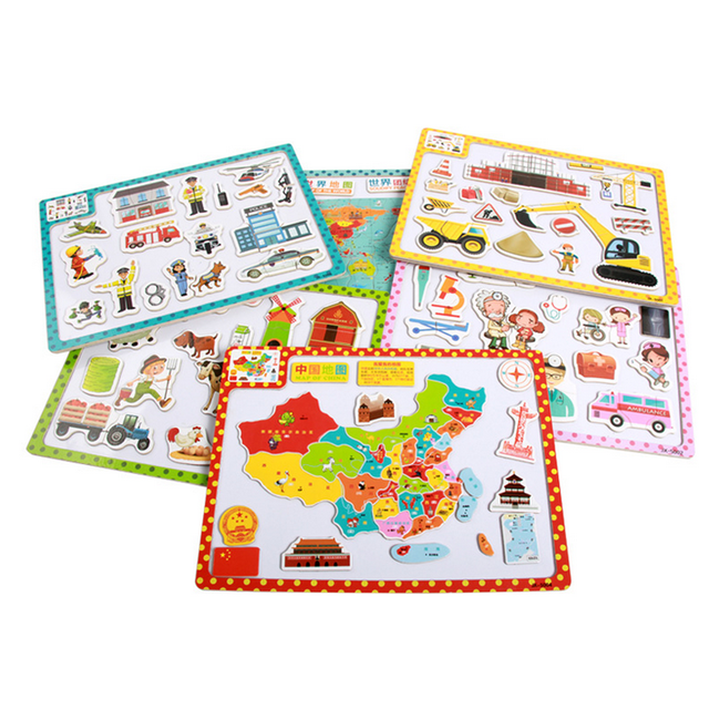 1 Set 3D Wooden Children's Magnetic Jigsaws Early Toddlers Education Cognitive Toys Cartoon Animals Puzzles Baby Kids Gifts