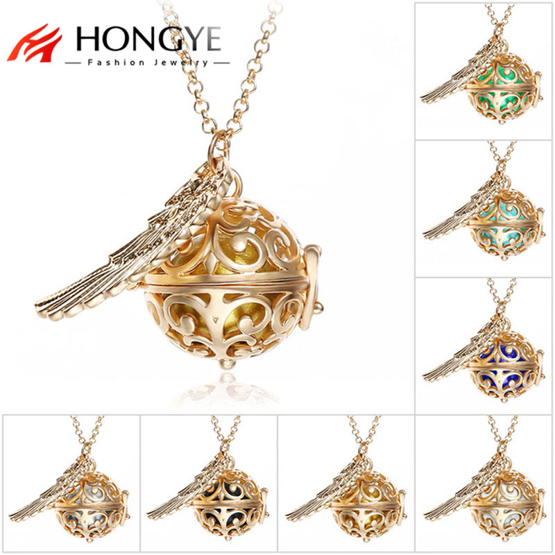 New Pendant Necklace Pregnancy Balls Bola with Cage Angel Ball Baby Chime Hollow Out Metal Chain Necklaces & Pendants for Women