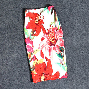 Print Flowers Pencil Skirt Summer Casual