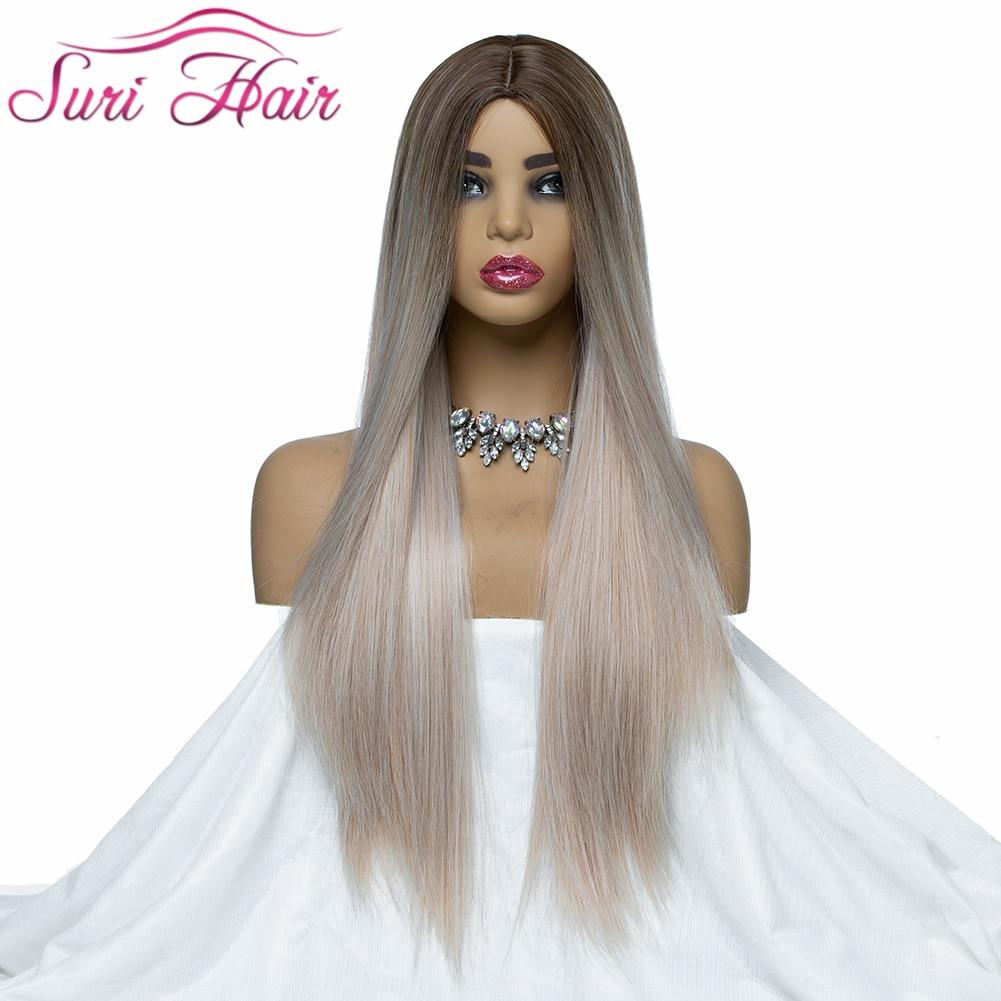 30 polegadas longa reta perucas sintéticas para as mulheres negras perucas cosplay Cabelo Ombre dois tons de cor misturada 130% gueeless Suri perucas para