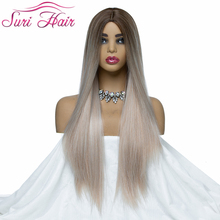 30 inches long straight synthetic wigs for black women cosplay Ombre two tones mixed color 130% gueeless Suri Hair