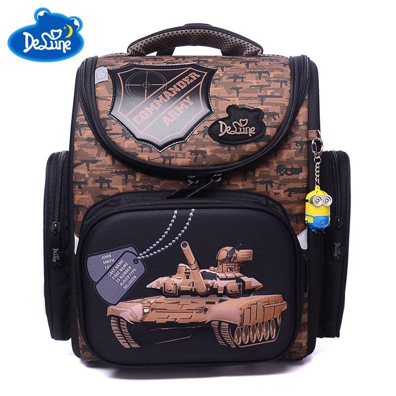 2018 New Children School Bags For Boys Orthopedic Waterproof Backpacks Child Boy Tank Book bag Satchel Knapsack Mochila escolar