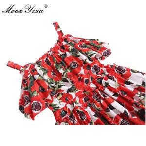 Image 4 - MoaaYina mode Designer piste coton robe dété femmes Spaghetti sangle volants Floral imprimé vacances Mini robe