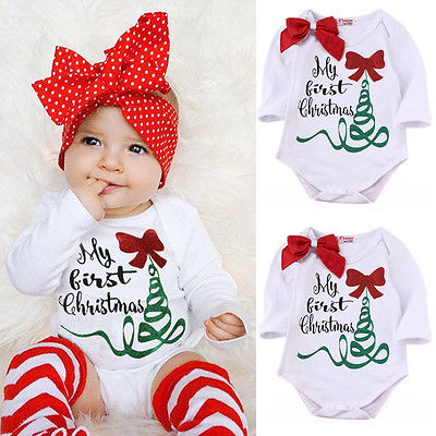 Hot Sale Newborn Baby Girl Long Sleeve Romper Jumpsuit My First Christmas Bownot Head Band Outfits Clothes