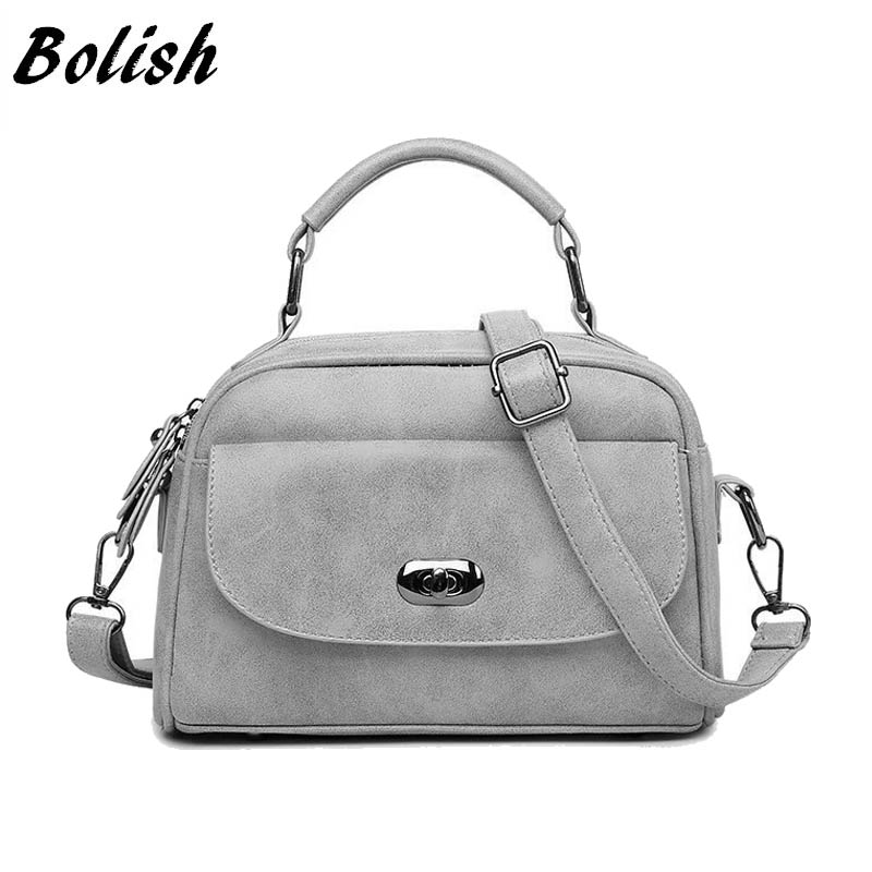 Bolish Nubuck Leather Women handbag Vintage Women Messenger Bag Fashion Lock Female Shoulder Bag Shell Stlye Women Bag