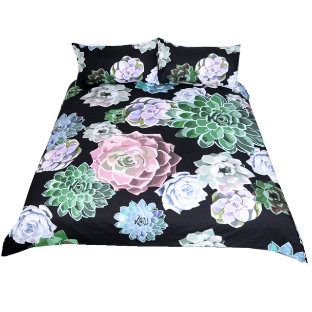 Boho Flowers Watercolor Mandala Duvet Cover Set 3 Pieces Abstract Bed Cover Plant Floral Pattern Bedding Set