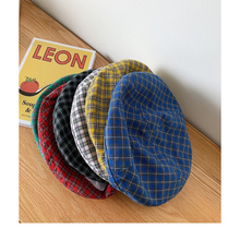 Hat female Japanese retro plaid beret summer thin section breathable painter hat wild soft sister cute octagonal cap