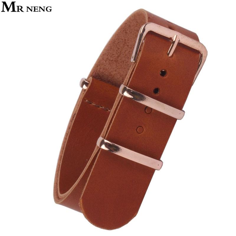 MR NENG 18mm 20 mm 22mm NATO Brown PU Leather Watchbands Men Women Watches Straps Wristwatch Band Rose Gold Buckle 20mm Belts стоимость