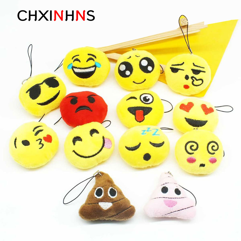 New Cute Emoji Plush Keyrings Cartoon Face Smile Keychain Soft Toy Gift Women Bag Car Pendant Accessory Figure Key Holder funny emoji cartoon face plush toys keychain pendant cute soft stuffed qq mini dolls round smile keyring gift