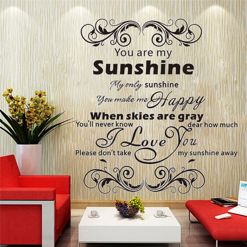Home decor English Song lyrics Quote Art Decal LOVE Couple Family Wall Stickers image
