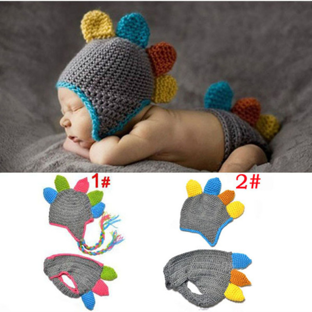 718fce10473 Handmade Crochet Baby Hat and Diaper Cover Photography Prop Dinosaur Beanie  with Shorts Children Costume Set SG027