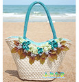 Flower Straw Beach Bag color block Woven Shoulder Rose Women Handbag