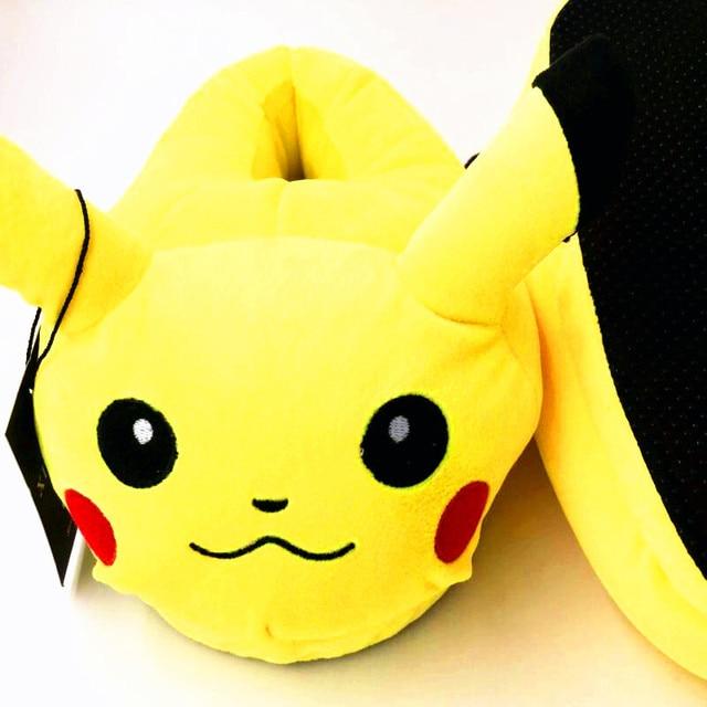 2017 Winter New Women and Men Shoes Fashion Casual Non-slip Pokemon Slippers Pokemon Cotton Slippers Pikachu Fluffy Slippers
