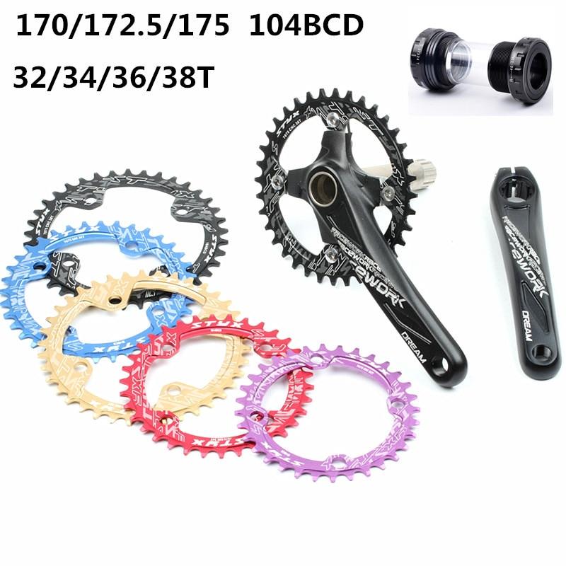 104BCD MTB Bike Crankset 170mm 172mm Aluminum Alloy With Bottom Bicycle Crankset MTB Crank Bike Accessories