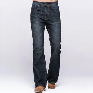 Image 2 - GRG Mens Jeans Tradition Boot Cut Leg Fit Jeans Classic Stretch Denim Flare Deep Blue Jeans Male Fashion Stretch Pants