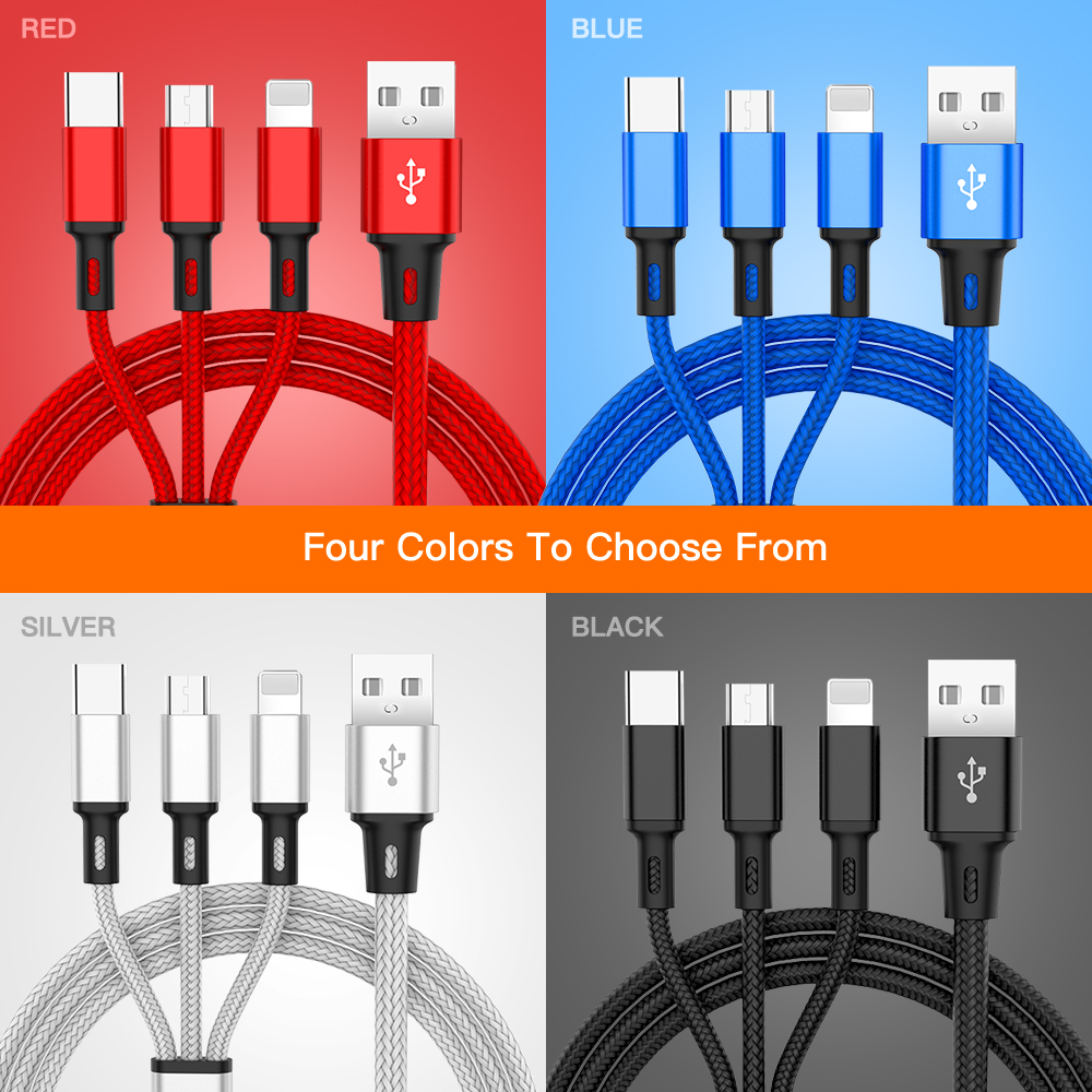cable multicarga trenzado USB para iPhone y android