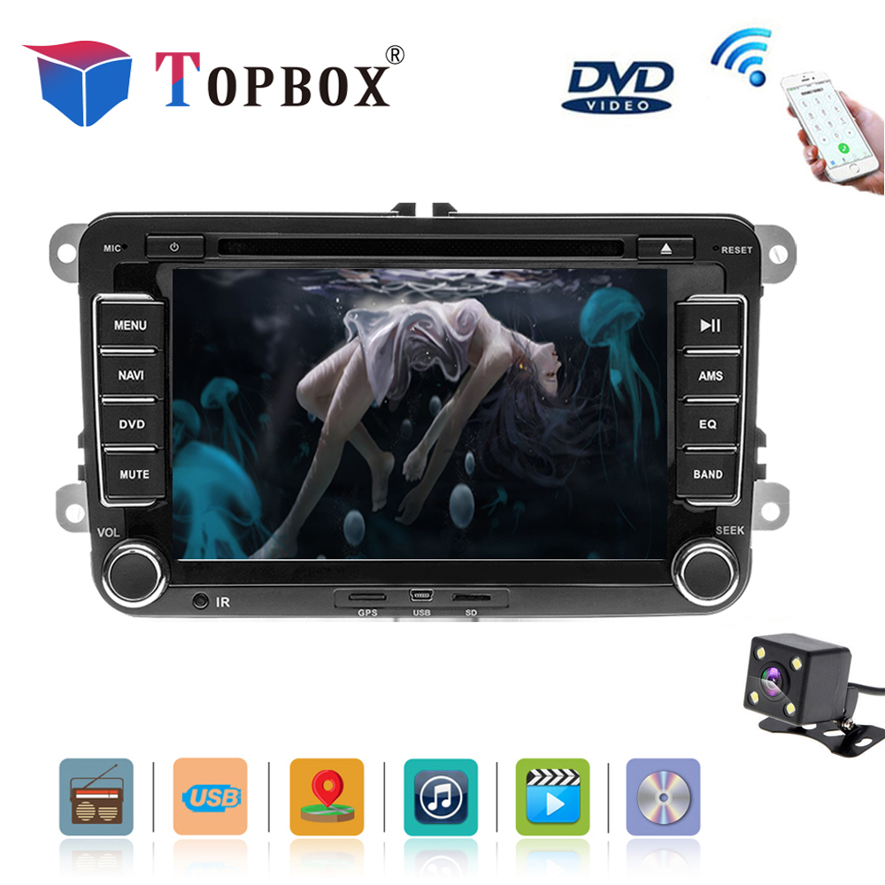 Topbox Car Multimedia player 2 Din Car DVD For VW/Volkswagen/Golf/Polo/Tiguan/Passat/b7/b6/SEAT/leon/Skoda/Octavia Radio GPS DA funrover android 8 0 two 2 din 9 inch car dvd player stereo for vw volkswagen polo golf skoda octavia seat radio wifi usb no dvd