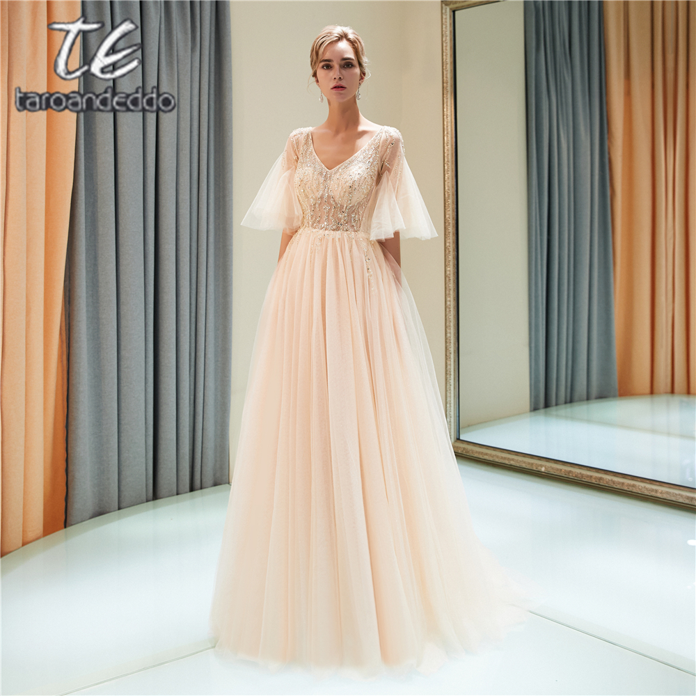 V Neck A Line Tulle   Prom     Dresses   Half Sleeve Front Split Illusion V Back Zipper Sweep Train Evening Formal Party   Dress