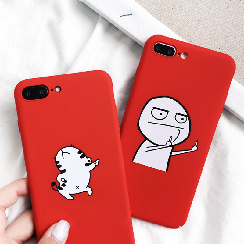 Funny Cartoon Phone Case For iphone X Case For iphone 6S 6 7 8 Plus Cover Sheep Dancing Cat Abstract Unicorn Middle Finger Cases