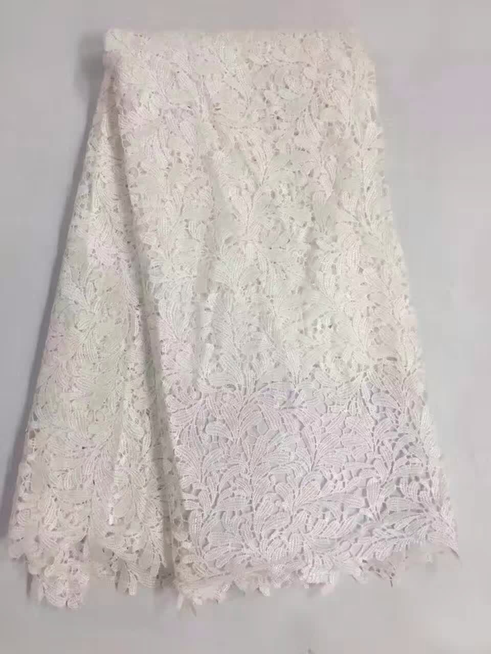 Precious Lovely Floral Tassel Guipure Lace Dress Fabric Material Grey