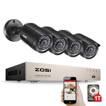 ZOSI Home Security System 8CH HD-TVI 1080N DVR 4PCS 1280TVL 720P Night Vision Outdoor Surveillance Waterproof Camera Kits 1TB