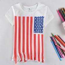Nueva moda de verano de manga corta Camiseta personalidad rayas niños camisetas algodón niños ropa 3-7 años